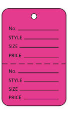 """3000 Preforated Tags Price Sale Large 1¾""""W x 2⅞""""H Two Part Hot Pink Coupon Tag"""