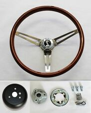 "70-77 Mustang Torino Maverick 15"" Wood Steering Wheel High Gloss Grip Cobra Cap"