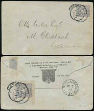 GERMANY REICHSPOST 1883 USED in LONDON SCROLL PMK CYCLISTS TOURING CLUB ENVELOPE
