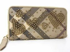 Authentic BURBERRY Zippy Zip Around Long Wallet Heart Grege Brown Studs N225