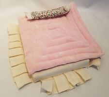 Vtg Dollhouse Miniature Queen Size Bed Foam Mattress Bedding Blanket Pillow