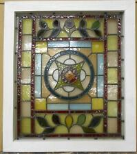 """VICTORIAN ENGLISH LEADED STAINED GLASS WINDOW Beautiful Floral 23.75"""" x 27.25"""""""