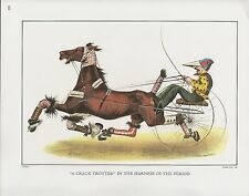 "1972 Vintage Currier & Ives ""A CRACK TROTTER IN HARNESS"" COLOR Print Lithograph"