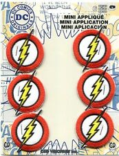 THE FLASH bolt symbol 6 EMBROIDERED IRON-ON MINI PATCH SET -c pdc128s DC Comics