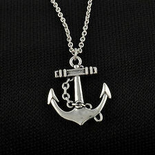 NEW Vintage Silver Retro Anchor Alloy Chain Pendant Necklace simple jewelry