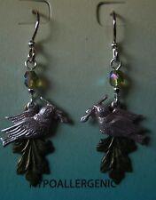 Jody Coyote Earrings JC0552 new hypoallergenic dove bird green silver dangle