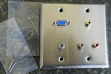 Stainless Steel Multimedia 2 gang 3 RCA, VGA, Co-Axial Wall Plate Made in USA!