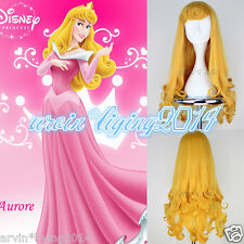 New Disney Sleeping Beauty Aurora Curly Wavy Hair Anime Cosplay Full Long Wigs