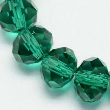 100 pcs  RONDELLE FACETED GLASS CRYSTAL BEADS 6mm Emerald
