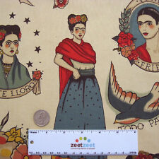 Alexander Henry TODO PARA TI Taupe Tattoo Kahlo Cotton Quilt Fabric by the Yard
