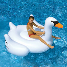 Swimline Swimming Pool Kids Giant Rideable Swan Inflatable Float Toy Raft 75""