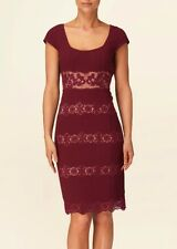 PHASE EIGHT BESSIE CLARET BURGUNDY RED NUDE LACE PENCIL DRESS 8 NWOT