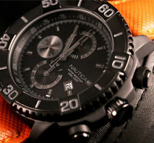 Nautica Men's Watch A21533G Black Anodized Round Chronograph Dial Orange Band