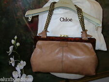 "CHLOE Lamb Leather HANDBAG Gold Kiss Lock Purse Double 21"" Bronze Chain Bag NEW"