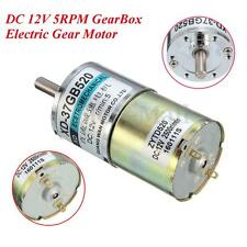 DC 12V 550mA 5RPM Electric Gear Motor High Torque Metal Gearbox 6mm Shaft