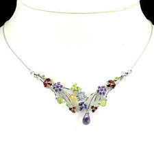 Sterling Silver 925 Multigem Necklace with Multi Faceted Gemstones 19.5 Inch