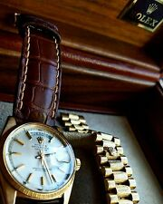Rare Rolex Day-Date Bark President 36mm 1807 Solid 18K Gold Watch, Box & Papers