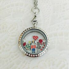 Christmas Nutcracker Ballet Memory Locket Stainless Steel With Chain And Charms