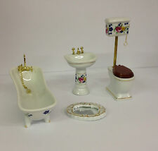 Alberon Dolls House furniture - 4 Piece Porcelain Bathroom Set - Floral Pattern