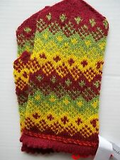 Latvian hand knitted 100% wool mittens, reddish brown/green/yellow (size M)