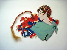 Vintage Art Deco Bridge Tally w/ Woman w/Short Red Hair Holding Autumn Leaves *