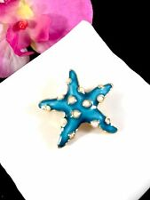 CROWN TRIFARI FAUX SEED PEARL TURQUOISE ENAMEL UNDER THE SEA STARFISH BROOCH