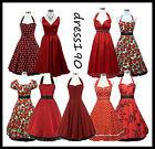 dress190 Rot 50er Jahre Rockabilly, Party-Cocktail-Abschlussball-Brautjun Kleid