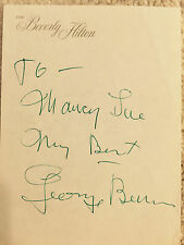 Autographed Card To Nancy Sue My Best George Burns Vintage 1956 at Beverly Hilto