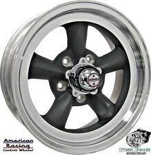 "(4) 15x6"" GRAY AMERICAN RACING TORQ THRUST D WHEELS, CHEVY CHEVELLE MALIBU 1964"