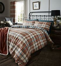 EDINBURGH TARTAN PLAID TERRACOTTA REVERSIBLE COTTON BLEND KING SIZE DUVET COVER