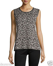 Misook Trudy Reversible Animal-Print Black/Multi Scoop-Neck Tank Size XL NWT