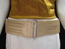 Unique Women Gold Belt Cut Out Stripes Wide Elastic Adjustable Belt S M