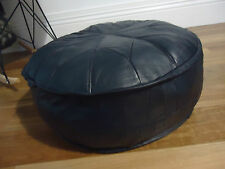 Beautiful Leather Ottoman for use as Coffee Table or Pouf or Pouffe - Black