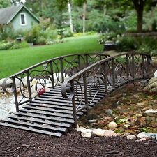 8 Foot Metal Garden Bridge Outdoor Furniture Decor Structure Home Porch Backyard