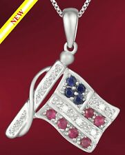 USA FLAG PENDANT 14K WHITE GOLD+DIAMONDS (056)