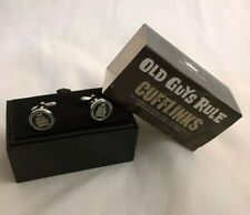 Old Guys Rule black enamel ST men's cufflinks  boxed wedding Father's Day