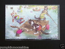 #H18- Vintage Unused Alfred Mainzer Postcard Cats In Swim Trunks Lake Swimming