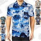 MENS HAWAIIAN SHIRTS PALM PRINT FLOWER STAG BEACH SURF ISLAND HOLIDAY PARTY TOPS