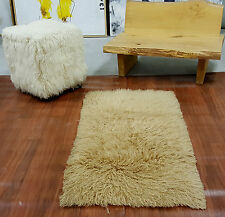 "STYLISH CARAMEL TAN FLOKATI SHAG RUG/ 100% WOOL/FREE SHIP/2""+ SHAG PILE"