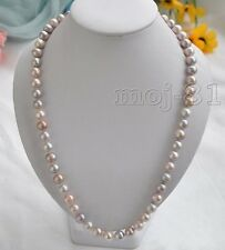 "Genuine Natural 8-9MM Multicolor Akoya Cultured Pearl Beaded Necklace 18"" AAA"