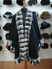 NEW CASHMERE AND RANCH CHINCHILLA FUR SHAWL CAPE WOMEN