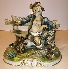 CAPODIMONTE - BARBONE CLOCHARD VIANDANTE - HOBO TRAMP FEEDING BIRDS SIGNED LORY