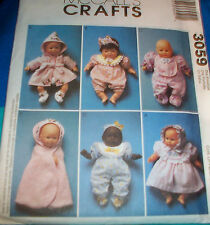 "Baby Doll Clothes for 8"" - 16"" dolls, uncut sewing pattern"