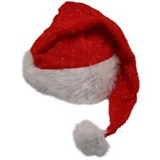 NEW FATHER CHRISTMAS SANTA CLAUS SPARKLY GLITTER HAT - FANCY DRESS FESTIVE PARTY