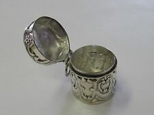 REPOUSSE STERLING SILVER ROUND THIMBLE HOLDER/PILL CASE - NEW (LAST ONES!!)