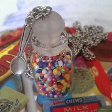 Unique CANDY JAR & SPOON NECKLACE handmade  fab SPRINKLES rainbow BOTTLE cute!