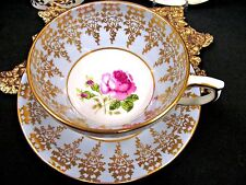 WINDSOR TEA CUP AND SAUCER BLUE GOLD GILT & PINK ROSE PAINTED TEACUP