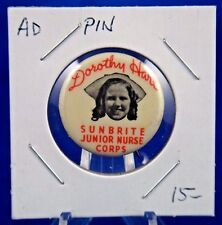 Dorothy Hart Sunbrite Junior Nurse Corps Advertising Pin Pinback Button 1""