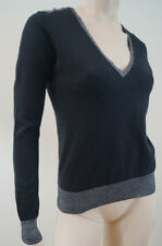 JOSEPH Black Cashair Lurex Cashmere Metallic Trim Long Sleeve V Neck Jumper L