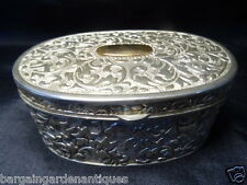 Vintage French Rococo Oval Silver Engraved Ladies Boudoir Trinket Jewellery Box